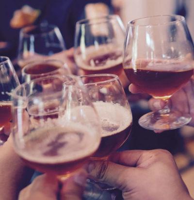 wine, beer, glasses