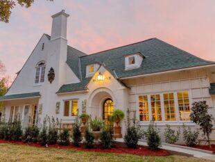 house, white, trees, bushes, windows