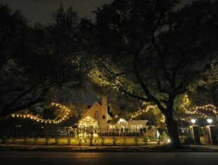 house, white, trees, bushes, windows, night, lights