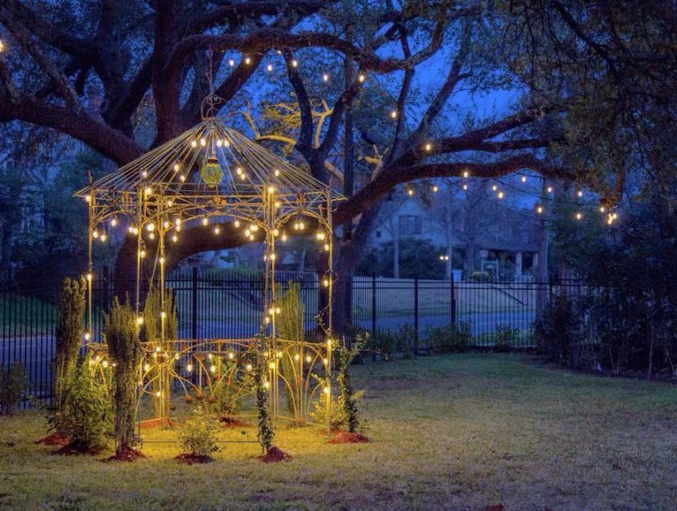 gazebo, night, lights, yard, decorated